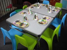 Table and chairs for party hire